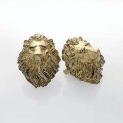 Set of 2 Lion Head Antique Brass Finial