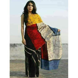 Cotton Batik Printed Saree with Blouse Piece, Length: 6 m