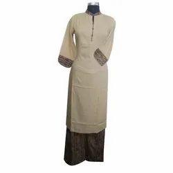 Casual Wear Straight Ladies Cotton Plain Suit, Size: S-XL, Machine wash