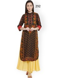 Party Wear Digital Print 3/4 Sleeve Kurti