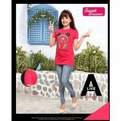 Printed Cotton Girls Casual Top
