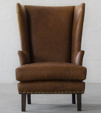 Vintage Leather High Back Wing Chair, Leather Furniture
