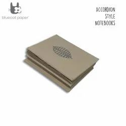 Beige Accordion Style Journal/Notebook - Grey Autumn Leaf
