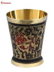 Brass Glass with Black Handwork, Capacity: 300 mL