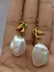 Sterling Silver Bird Motif Baroque Pearl Earrings