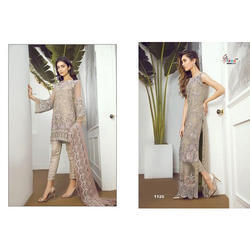 Semi-Stitched Ladies Embroidered Suit