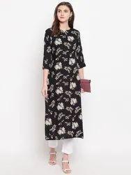 Women Flower Print Rayon Straight Kurta