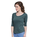 Women 100% Cotton Solid Boat Neck Green T-shirt