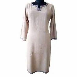 Rigas 3/4th Sleeve Ladies Fancy Cotton Kurti, Size: S-XXL