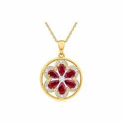 Ruby Flower Pendant