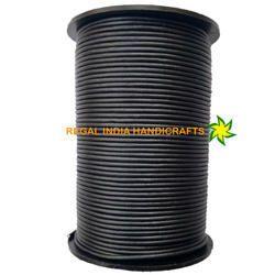 Gunmetal Metallic Grey Round Leather Cord
