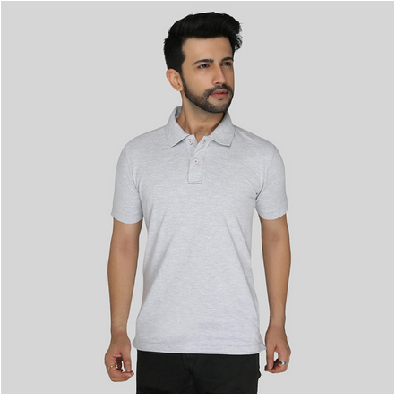 Polyester Cotton Grey Melange Color Premium Cotton Polo T-Shirt