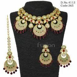 Rajwadi Meenakari Kundan Necklace Set