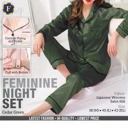 Japanese Woven Satin Silk Full Sleeves Ladies Feminine Night Set, Size: M To XL