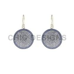 Diamond Sapphire Hook Earrings