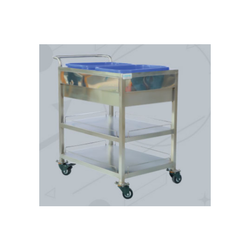 Siemec Stainless Steel SS Waste Trolley, for Industries and Hospital, Cart Size: 600x800x850 Mm