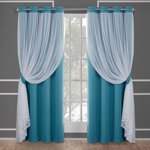 Polyester Plain Blue Turquoise Window Curtain, Rs 800 /piece Sleep Cell  Furnishing | ID: 21613961955