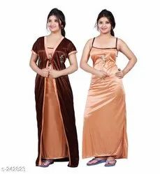 Ladies Short Sleeve Solid Satin Night Gowns, Size: Free