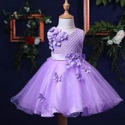 Cute Flowers Applique Party Dress - Purple