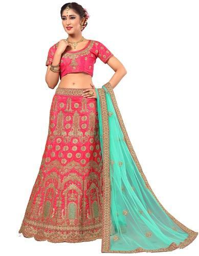 0f1f1715b3 Free Pink And Turquoise Ujjwal Creation Bridle Wedding Wear Art Silk Lehenga -choli And Dupatta
