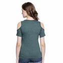Women Sleeveless Solid Green Top