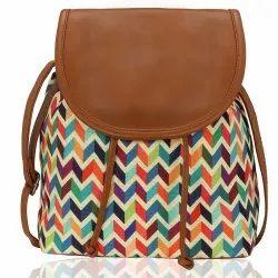 Kleio Brown Ladies Jacquard Sling Bag