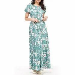 Satin Ladies Floral Printed Maxi Dress