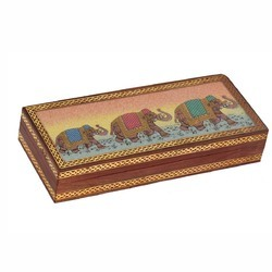 Wooden Gemstone Elephant Procession Box