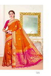 Orange Color Art Pattu Silk Saree