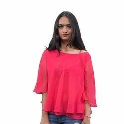 Plain 3/4th Sleeve Girls Georgette Pink Top, Size: Medium