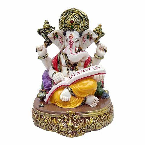 Multicolor Marble Look Shri Ganesha Reading Holy Book Idol