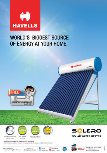 Freestanding Havells 300lpd Etc Solar Water Heaters For