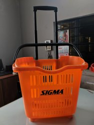 2 Wheels Plastic Shopping Basket Trolley
