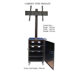 Max Engineers Mild Steel Portable TV Trolley With Cabinet, For Home