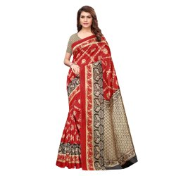 Maroon Colored Art Silk Printed Casual Wear Saree