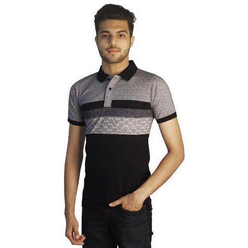 49b0a5855ef9 Cotton Colour Mens T Shirts - Black Melange Premium Cotton Rich Polo ...