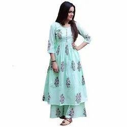 Ladies Fashionable Cotton Kurti with Palazzo