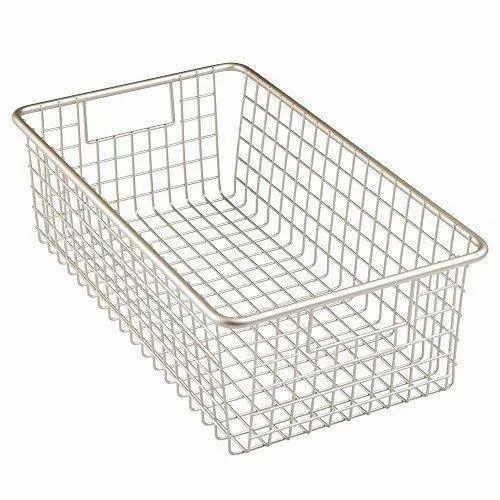 Iron Silver Wire Basket, Size: 12 Inch, Rectangular