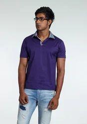 Men's Cotton Formal Polo T Shirt, Color: Blue