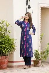 Long Pattern Design Casual Wear Printed Rayon Kurti with Palazzo Set