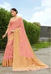 Pink Banarasi Silk Woven Saree With Blouse Piece