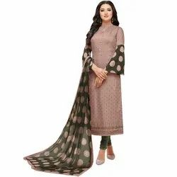 Rajnandini Dusty Pink Chanderi Silk Embroidered Semi-Stitched Dress Material With Printed Dupatta