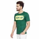 Men's Half Sleeves Round Neck Printed 100% Cotton T-Shirt