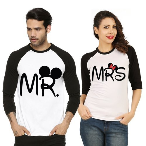 05c72e35a50 Cotton White And Black Couple Printed T Shirt