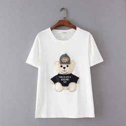 White Cotton Ladies Round Neck T Shirt, Packaging Type: Packet