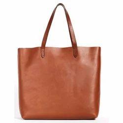 Ladies Rexine Brown Plain Bags