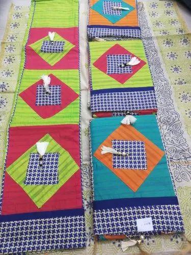 Multicolor Regular Wear Cotton Dress Material with Chanderi Dupatta