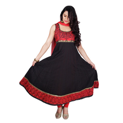Black and Red Cotton Dobby Anarkali Suit