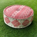 Red Embroidered Ottoman/ Puff