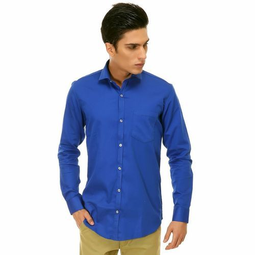 d009076713 Mens Cotton Plain Royal Blue Shirt